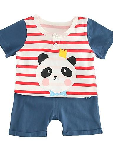 Bebelus Unisex Activ Școală Geometric Manșon scurt Scurt Bumbac Set Îmbrăcăminte / Copil