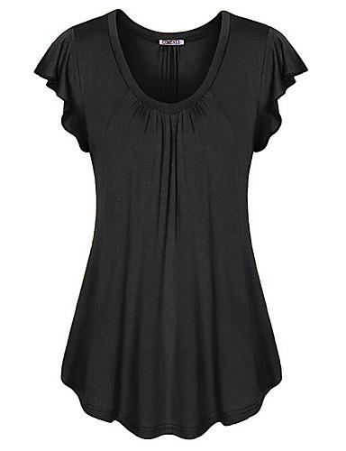 abordables Hauts pour Femmes-Tee-shirt Grandes Tailles Femme, Couleur Pleine Col en U Fuchsia