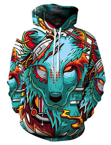 cheap Basic Hoodie Sweatshirts-Men's Plus Size Basic / Exaggerated Long Sleeve Loose Hoodie - 3D / Cartoon Wolf, Print Hooded Green XXXL / Fall