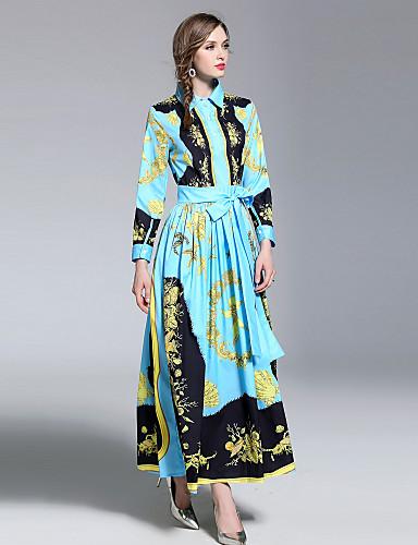 voordelige Maxi-jurken-Dames Feestdagen Uitgaan Boho Street chic Wijd uitlopend Jurk - Abstract, Print Overhemdkraag Maxi