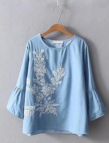 bluza de lenjerie pentru femei - gât rotund floral