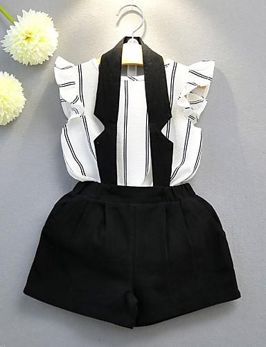 Copil Fete De Bază Alb negru Dungi Cu Șiret Fără manșon Bumbac Set Îmbrăcăminte