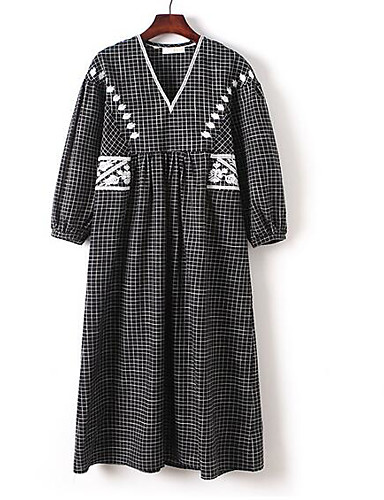 Pentru femei Mărime Plus Size Vintage Bumbac Mâneci Bufante Shift Rochie - Plisată, Mată / Geometric Lungime Genunchi Negru & Roșu