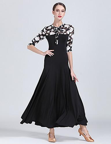 2bc40c2ed98f Ballroom Dance Dresses Women's Training / Performance Lace / Milk Fiber  Pattern / Print / Split Joint Half Sleeve High Dress