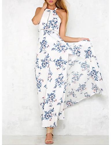 voordelige Maxi-jurken-Dames Chiffon Jurk - Bloemen Halter Maxi