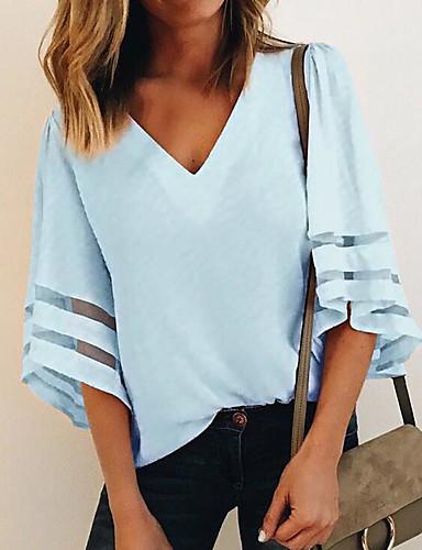 billige Dametopper-V-hals T-skjorte Dame - Ensfarget Ut på byen Hvit / flare Sleeve