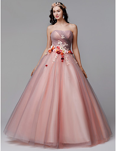34870d19df1 Ball Gown Strapless Floor Length Tulle Formal Evening Dress with Flower    Pleats by TS Couture®