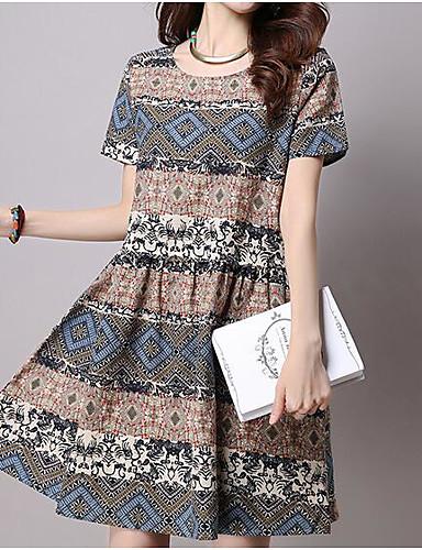 Pentru femei Mărime Plus Size Vintage Bumbac Mâneci Bufante Shift Rochie - Franjuri, Mată / Dungi Lungime Genunchi Albastru & Alb