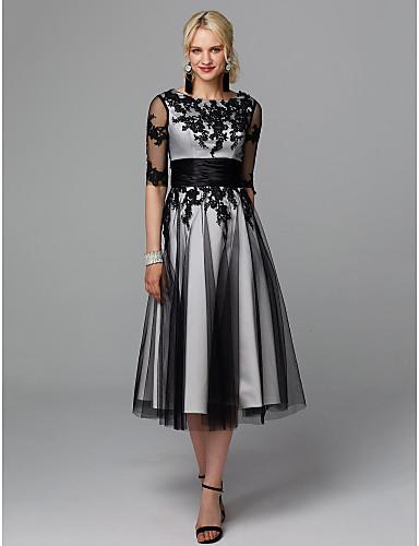 A-linje Besmykket Telang Blonder / Tyll Liten svart kjole Cocktailfest Kjole med Appliqué / Belte / bånd av TS Couture® / Illusjon