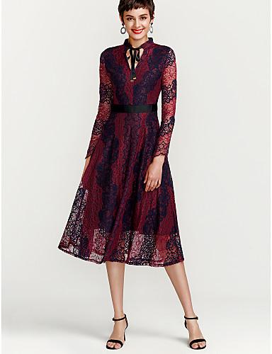 15c91280f096 Women s Lace Plus Size Going out Swing Dress - Color Block Lace V ...