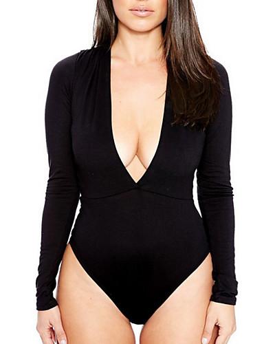 abordables Hauts pour Femme-Le maillot de corps Femme, Couleur Pleine V Profond Blanche