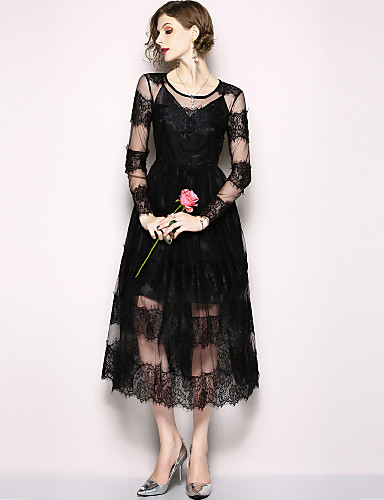 Women's Holiday / Going out Vintage / Sophisticated Maxi Little Black / Swing Dress - Solid Colored Lace High Waist Spring Black L XL XXL