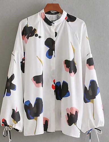 billige Dametopper-Høy krage Skjorte Dame - Geometrisk Hvit