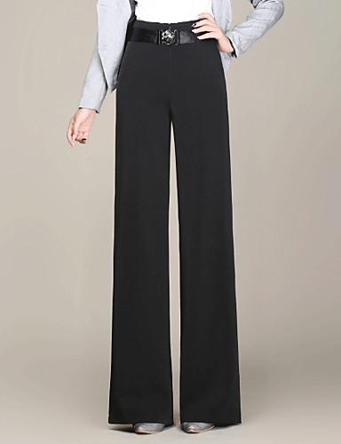Pentru femei De Bază Talie Înaltă Bumbac Zvelt Picior Larg / Pantaloni Chinos Pantaloni Mată / Toamnă