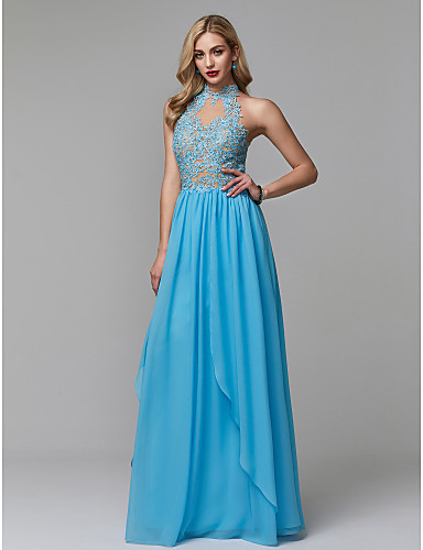 499dcaf899b58e Sheath   Column High Neck Floor Length Chiffon   Lace Sparkle   Shine   See  Through Prom   Formal Evening Dress with Beading   Appliques by TS Couture®