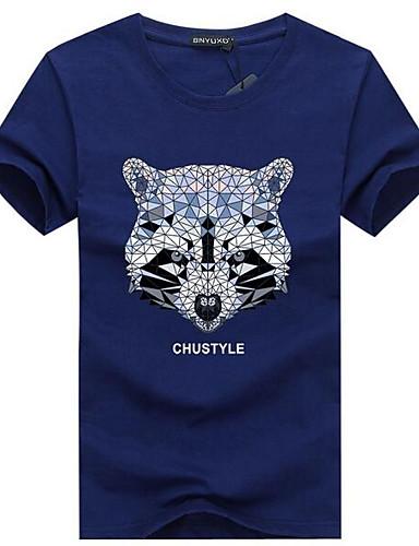 voordelige Heren T-shirts & tanktops-Heren Street chic T-shirt dier Ronde hals Geel / Korte mouw