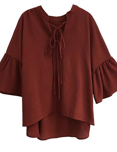 Pentru femei Bluză Bumbac Vintage - Mată Mâneci Bufante, Franjuri Alb negru / Manșon flare
