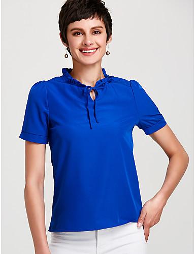 povoljno Ženske majice-Bluza Žene - Osnovni Dnevno Jednobojni Puff rukav Ruska kragna Širok kroj Plava / Na vezanje