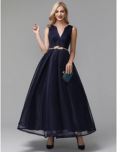 preiswerte Abendkleider-A-Linie V-Wire Ausschnitt Knöchel-Länge Elasthan Cocktailparty / Abiball Kleid mit Schärpe / Band durch TS Couture®