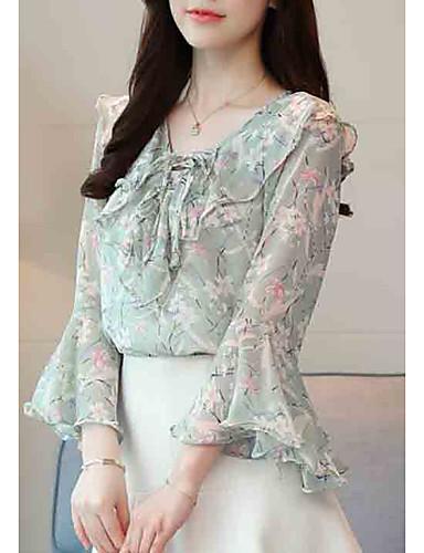 povoljno Ženske majice-Bluza Žene Izlasci Cvjetni print V izrez Obala