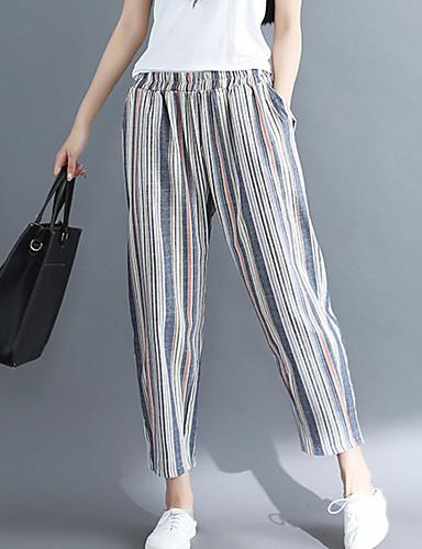 Pentru femei Talie Înaltă Bumbac Pantaloni Chinos Pantaloni Dungi