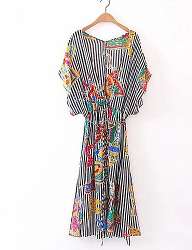 Pentru femei Mărime Plus Size Vintage Bumbac / In / Acrilic Mâneci Bufante Shift Rochie - Peplum, Dungi Lungime Genunchi Albastru & Alb