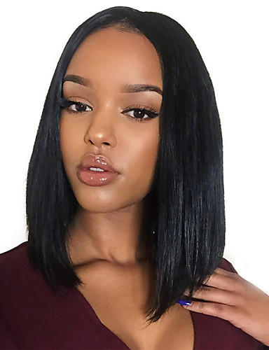 cheap Human Hair Wigs-Remy Human Hair Monofilament Lace Front Wig Bob Kardashian style Brazilian Hair Eurasian Hair Straight Natural Black Wig 150% Density with Baby Hair Natural Hairline African American Wig Women's