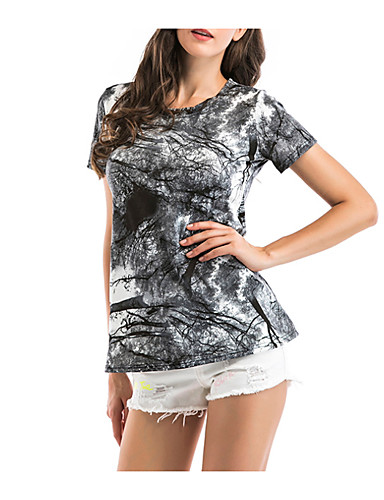 Pentru femei Tricou Ieșire Bumbac De Bază - Geometric Imprimeu / Vară / Zvelt