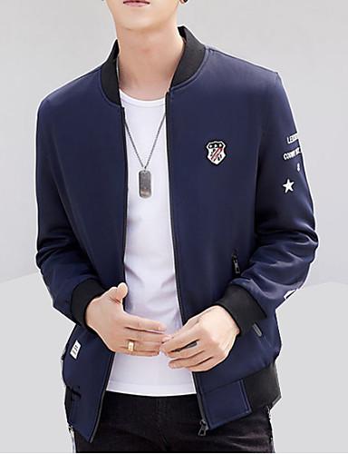 Bărbați Zilnic / Muncă De Bază Primăvară / Toamnă Mărime Plus Size Regular Jachetă, Mată Stand Manșon Lung Poliester Gri / Roșu Vin / Bleumarin XXL / XXXL / XXXXL