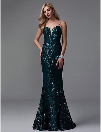 Syrena Cienkie ramiączka Tren sweep Z cekinami Kolacja oficjalna / Elegancka gala Sukienka z Cekin przez TS Couture® / Błyszczące