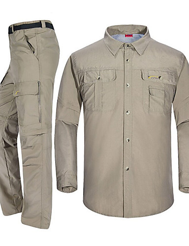 e4f1b183f82 Men s Long Sleeve Hiking Shirt with Pants Convertible Pants Outdoor Spring  Summer Fast Dry Quick Dry Breathability Polester   Cotton Blend Clothing  Suit ...