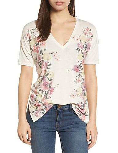 Pentru femei Tricou De Bază - Floral / Vară