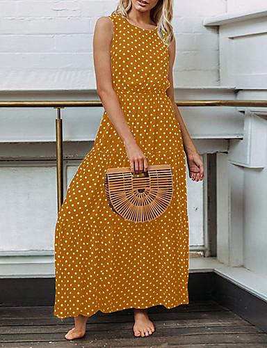 abordables Robes Femme-Femme Simple Maxi Mousseline de Soie Robe - Imprimé, Points Polka Eté Noir Marine Jaune M L XL Sans Manches