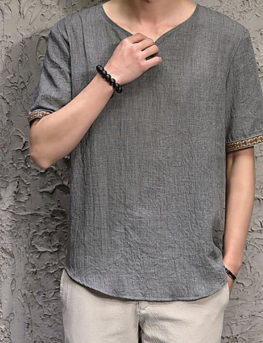 Hombre Básico Playa Algodón / Lino Camiseta, Escote en Pico Un Color Azul Marino XXXL / Manga Corta