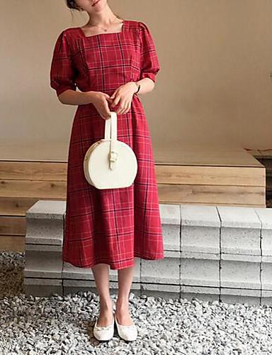 2631e577eac Γυναικεία Βασικό Θήκη Φόρεμα - Καρό Μακρύ Τετράγωνη Λαιμόκοψη ...