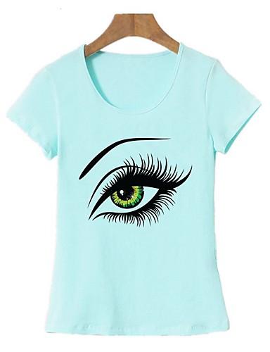 abordables Hauts pour Femme-Tee-shirt Femme, Portrait - Coton Imprimé Sortie Basique Vert Claire