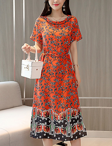 abordables Robes Femme-Femme Sortie Midi Gaine Robe Orange XL XXL XXXL Manches Courtes