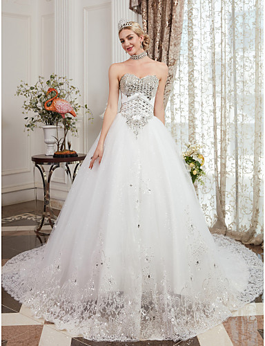 04182cb32000 Ball Gown Sweetheart Neckline Cathedral Train Lace Over Tulle Made ...