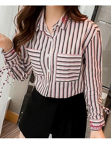 abordables Hauts pour Femme-Chemisier Femme, Couleur Pleine - Coton Franges Rétro Vintage Manche Gigot Noir & Blanc Rouge