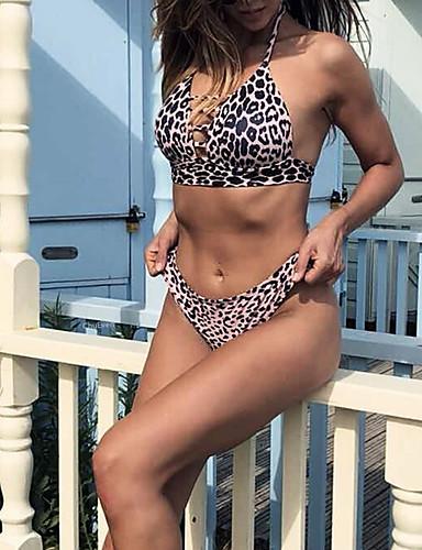 9786a7a406 Women s Basic Boho Halter Neck Black Triangle Cheeky Bikini Swimwear - Leopard  Backless Print S M L Black   Super Sexy