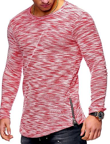 男性用 プラスサイズ Tシャツ ベーシック / 軍隊 ラウンドネック ソリッド コットン ルビーレッド XL / 長袖