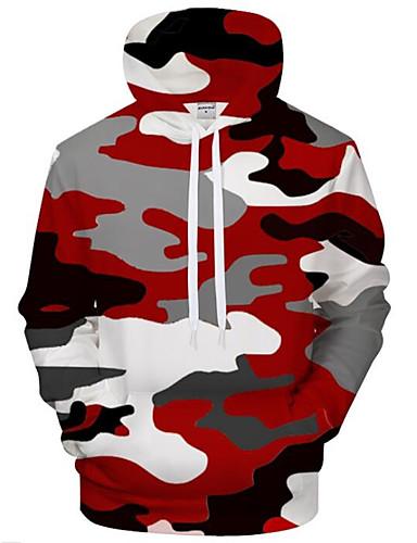voordelige Uitverkoop-Heren Actief / overdreven Grote maten Ruimvallend Broek - 3D / Cartoon Print Rood / Capuchon / Lange mouw / Herfst / Winter