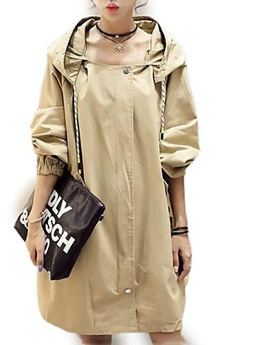 abordables Manteaux & Vestes Femme-Femme Quotidien Grandes Tailles Longue Trench, Couleur Pleine Capuche Manches Longues Polyester Blanc / Kaki S / M / L