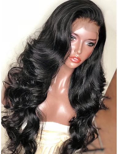 זול סלבריטאים פאות-פאות סינתטיות / סינתטי תחרה פאות הקדמי גלי Kardashian סגנון תספורת שכבות חזית תחרה פאה שחור שחור חום כהה שיער סינטטי בגדי ריקוד נשים עם שיער בייבי / רך / עמיד לחום שחור פאה ארוך Modernfairy Hair