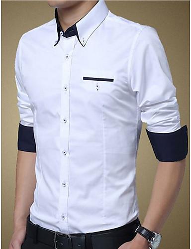 Majica Muškarci Dnevno / Rad Pamuk Color block Klasični ovratnik / Dugih rukava