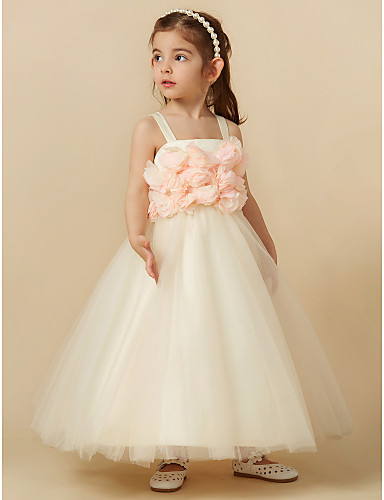 2370c29efe8 Sheath   Column Knee Length Flower Girl Dress - Tulle Sleeveless Straps  with Flower by LAN TING BRIDE®