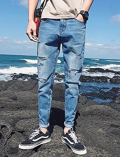 Muškarci Slim Chinos Hlače - Jednobojni Rupica Plava 33
