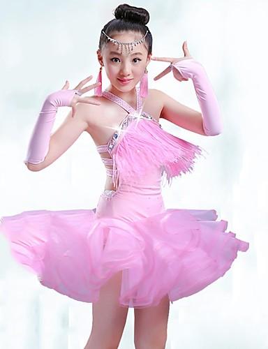 031f9fee2292 Latin Dans Kjoler Jente Ytelse Spandex   Organza Ruchiing   Dusk Ermeløs  Kjole