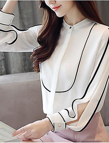 abordables Camisas y Camisetas para Mujer-Mujer Vintage / Básico Noche Borlas / Retazos Blusa, Cuello Camisero A Rayas Blanco L