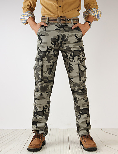abordables Pantalones Cargo-Hombre Militar Algodón Chinos / Pantalones de Deporte / Pantalones tipo cargo Pantalones - camuflaje Gris / Deportes